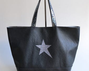 Bag faux leather grey star glitter handmade @lacouturebytitia women's fashion