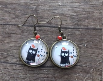 Cabochon, black cat earrings
