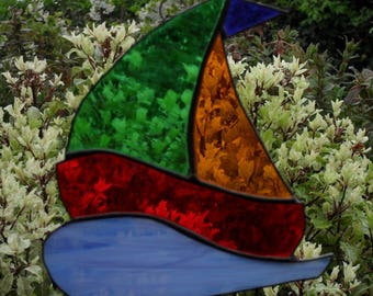 Stained glass sailing boat suncatcher