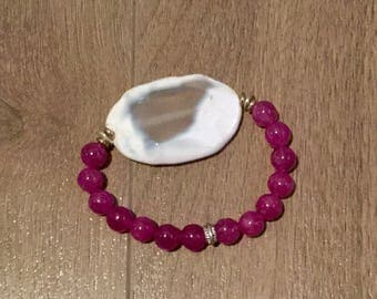 Jade and agate bracelet