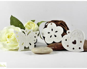 Butterfly, heart or flower scented ceramic plaster.