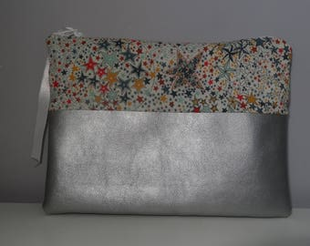 Clutch faux grey leather and liberty