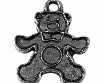 x 10 - Teddy bear or Teddy bear - metal charm - silver color