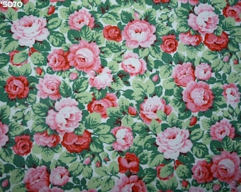 Coupon vintage fabric roses with leaves 50 * 70cm [ref 013 * 5070]