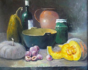 painting,painting,oil on canvas,still life of a complex bottle of wine of plum pumpkin