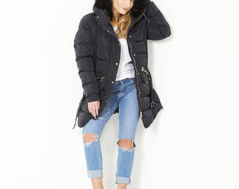 Women's Navy Winter Puffa Coat