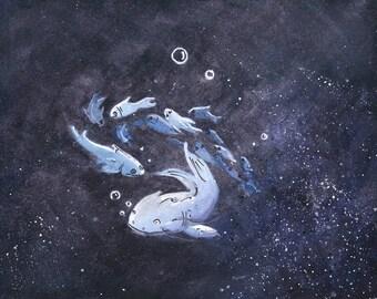 Purple Fish Watercolor Print