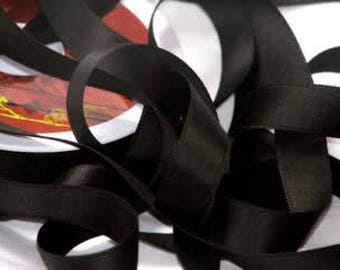 Cotton black satin ribbon