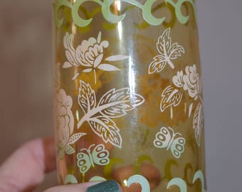 Smoky Glass Glass Tumbler with Butterflies, Flowers, and Swirls/ 1970's Vintage Drinking Glasses/ Butterfly Glasses/ Vintage Smoky Glasses