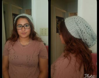 Grey crochet slouchy hat