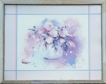 Magenta Bouquet, Framed Lithograph by Charlene Cawley, 1986