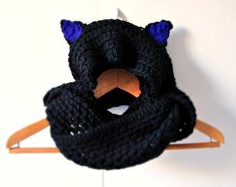 Scoodie hooded scarf Black wool with ears