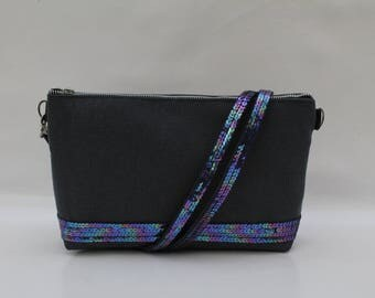 Rigid clutch in cotton blue night with Midnight Blue sequins multicolor (4rangees)