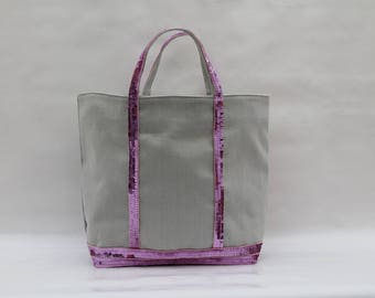 The light gray with hot pink sequins tricky linen carrier