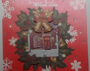 Merry Christmas and happy new year, House, bells and Holly, 3D card