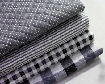 Grey Cotton Blend Ready quilted Fabric / BY HALF YARD / Pre-quilted padded Polka dot checked striped / Ykfabrics JQ46+