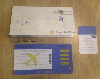 Travel theme wedding invitation: ticket