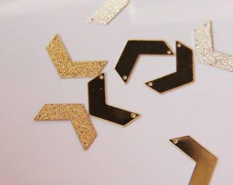 Sequin chevron rhinestone standard 2cm gold-tone connector