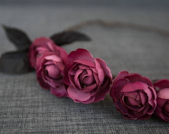 Purple and Pink Rose Flower Crown