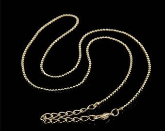 Gold or silver plated chain ball 1 mm 42cm
