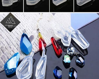 1pcs Silicone Mold For pendant Resin Mold Handmade Gem cut surface