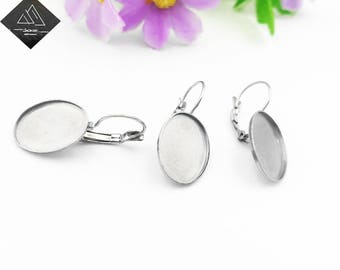 20pcs Stainless Steel earring hooks oval blank base 13x18mm Cabochon Leverback Earring Settings trays Lever Back for jewelry diy supply