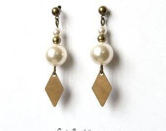 Bronze Diamond Pearl cream white Crystal opaque swaroski and brass studs