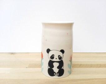 Handmade earthenware handmade ceramic craft, panda and landscape decoration vase
