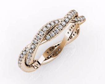 Curly Ring, 14K 18K Gold + 0.33 Ct Diamonds