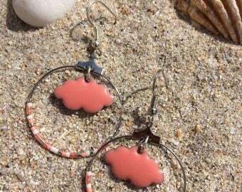 Clouds coral hoop earrings
