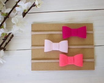 Baby Headband, Bow Headband, Set of 3, Pretty in Pink, Hot Pink, Light Pink and Neon Pink