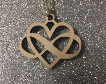 Wooden Infinity Heart Necklace