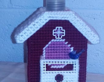 Soap Dispenser - Red Chalet Birdhouse (Soap Included)