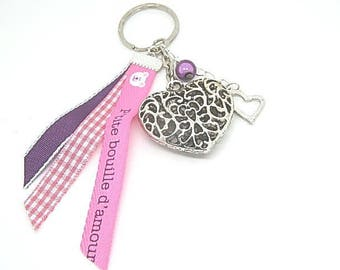 "Key heart or bag charm ""Little face with love"""
