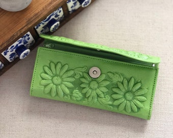 Tooled Leather Wallet, Women's wallet,Mexican Wallet, Hand tooled Wallet, Sunflower Wallet, Leather Wallet, Brown Wallet,boho wallet