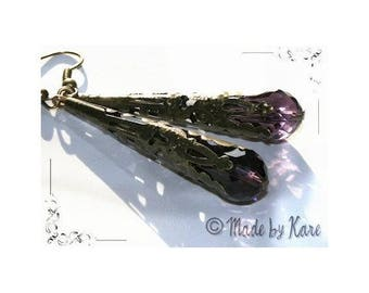 Bronze Vintage purple Crystal drops earrings