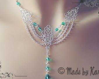 Elegant emerald green wedding necklace Victorian Medieval fairy R