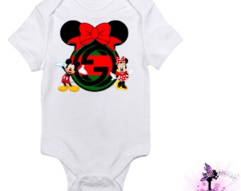 Red and Green Gucci Mickey Mouse and Minnie Mouse Baby Onesie | Babyshower Gift | First Birthday Outfit | Christmas Outfit