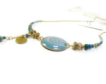 Chic gold and teal necklace with chain