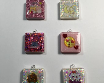 Sparkly Small Square Keychain