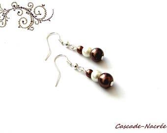 Ivory chocolate bridal wedding Pearl Earrings Pearl
