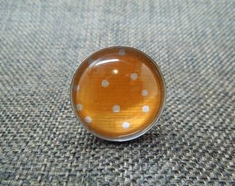 Polka dot Orange and white round ring