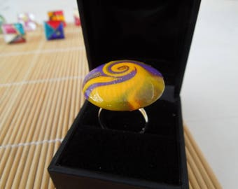 Polymer clay yellow and purple swirl ring