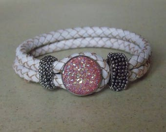 Braided white and pink leather Snap bracelet