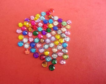 Set of 20 mini rhinestones colorful faceted acrylic paste - 4mm