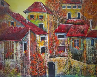 oil painting: towns and villages in France