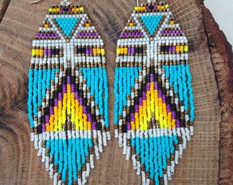 exclusive boutique earrings creator unique woven peyote stitch beaded Japanese Miyuki