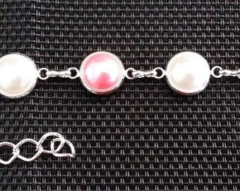"""Bracelet """"beaded rose"""" 15.5 CMS + chainette of 6.5 cm"""