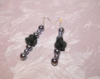 "Dangling earrings ""my black rose"" mod2"
