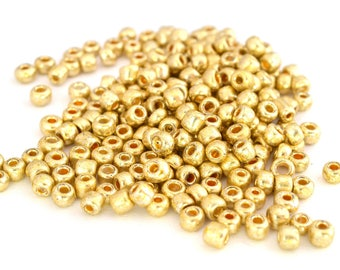 Large seed beads 6/0 Golden glass 4mm, 10 grams (approximately 110 beads)